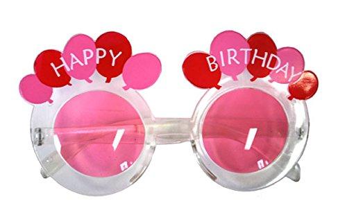 Brille Happy Birthday runder klarer Rahmen und rosa Gläser mit Luftballons Fun Gag Geburtstag