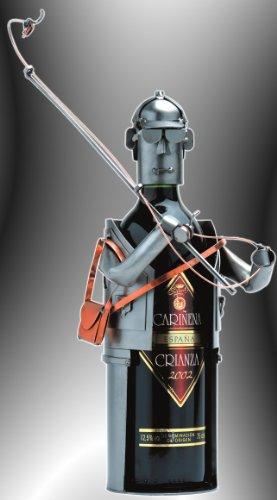 """Boystoys HK Design Weinflaschenhalter Angler \""""Angelrute Fliegenfischen\"""" - Metall Art Weinflaschen-Deko & Weingeschenke - Original Schraubenmännchen Kollektion - handgefertigte Geschenkidee"""