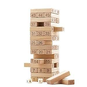 Buy craftdev wood 48 wooden building block jenga plain for Plain wooden blocks for crafts