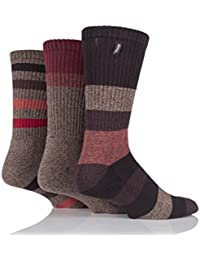 Mens 3 Pair Jeep Cotton Striped Chunky Boot Socks