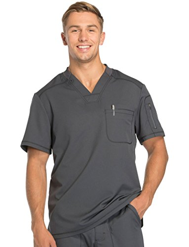 Dynamix By Dickies Men's V-Neck Solid Scrub Top Large Pewter (Dickies Zip Scrubs)