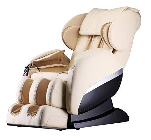 Luxus Massagesessel Shiatsu F3000 Zero Gravity Leder cremeweiss/beige mit Rollentechnik Massage +...