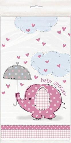 Unique Party Supplies Tischdecke für Babyparty, Elefantenmotiv, aus Kunststoff, 2,1 x 1,4m, Pink (Party Girl Supplies Baby)
