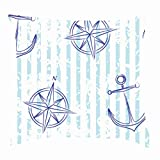 tuyi Nautical Retro stylesigns Symbols Throw Pillow Covers Cotton Linen Cushion Cover Cases Pillowcases Sofa Home Decor 18'x 18'Inch (45 x 45cm)