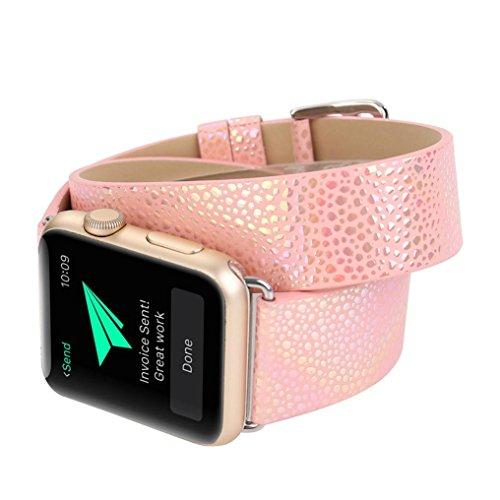 Gaddrt Bandoulière à bracelet en cuir à bandoulière longue montre bracelet pour Apple Watch 38MM (Or rose)