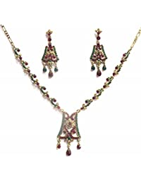 Jewelshingar Jewellery Zircon Stone Gold Plated Colour Multi-Colour Necklace Set For Women ( 41040-maroon-green-golden )