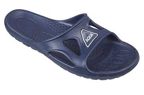 AQUA-SPEED® VENTO Badelatschen für Herren (Größen: 40-48 Übergröße Badeschlappen Schwimmbad Pool Urlaub Meer + UP®-Schlüsselband), Farbe:Blau;Größe:46