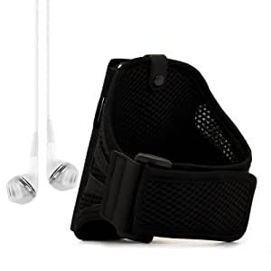 Sport Armband for Motorola Moto X , Moto G - Black + VanGoddy Headphone with MIC ,White