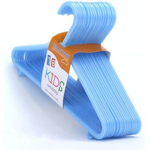 Hangerworld - Perchas para Niños (30 cm) Pantalones, Plástico Azul 54 Unidades