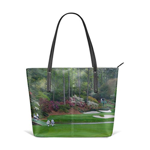 XGBags Golfs amen corner augusta georgia golfers on bridge Leather Tote Large Purse Shoulder Bag Portable Storage HandBags Convenient Shoppers Tote For Travel Shopping Daily Life Tote Umhängetaschen