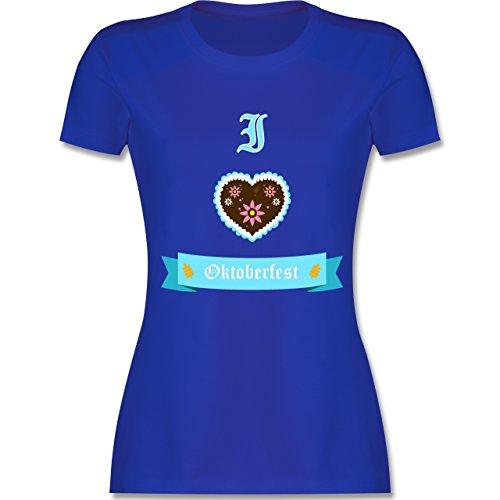 Shirtracer Oktoberfest Damen - I Love Oktoberfest - Damen T-Shirt Rundhals Royalblau