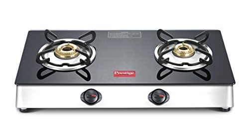 Prestige Marvel Plus Stainless Steel 2 Burner Gas Stove, Black