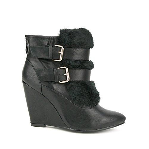 Cendriyon, Bottine Compensée AVANA MOOSA Chaussures Femme Noir