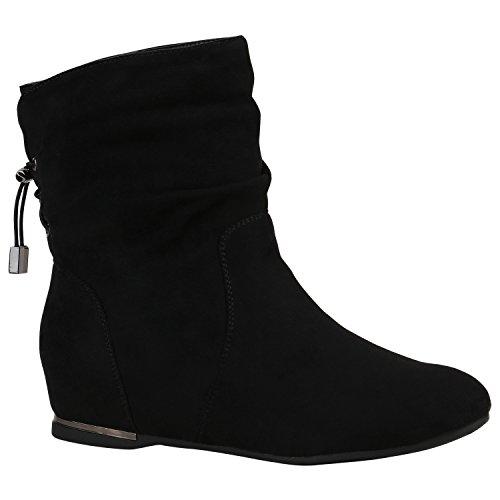 Damen Schuhe Stiefeletten Keilstiefeletten Gefütterte Stiefel Wedges 152216 Schwarz Metallic 39 | Flandell® (Schwarz-keil-stiefel)