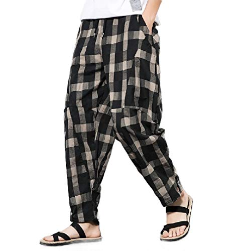 CuteRose Men Reg and Big and Tall Sizes Baggy Premium Trousers Plaid Pants Black S Classic Pleated Chino