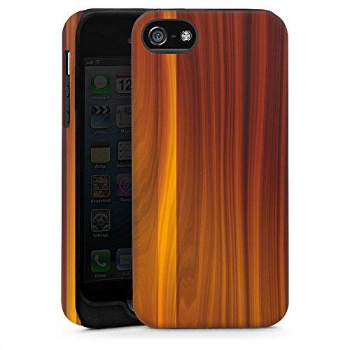 Apple iPhone 5s Housse étui coque protection Noyer Look bois Grain Cas Tough brillant