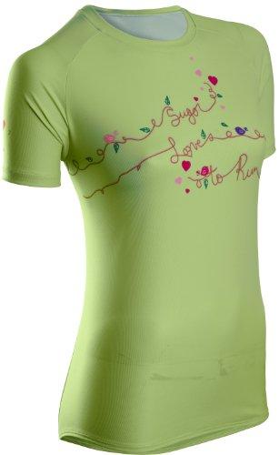 Sugoi Loves To Run T-shirt de course manches courtes pour femme Vert - Motif lotus