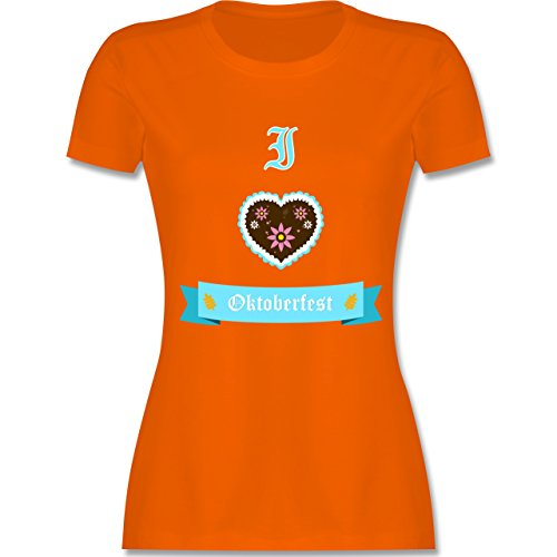 Oktoberfest Damen - I love Oktoberfest - tailliertes Premium T-Shirt mit Rundhalsausschnitt für Damen Orange