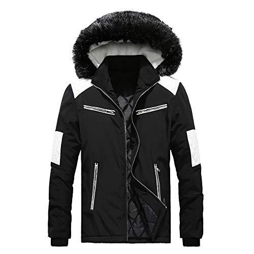 GAOQQ Pelz Mit Kapuze Mantel, Herrenmode Warm Lässig Gepolsterte Baumwolle Outwear/Leichte Jacke,A-L