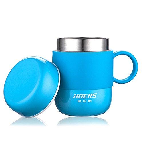 Isolierte Kaffeetasse, Doppelwand Edelstahl Vakuum Thermobecher mit Deckel und Griff für Frauen und Herren [280ml / 9.5 OZ] (Blau)