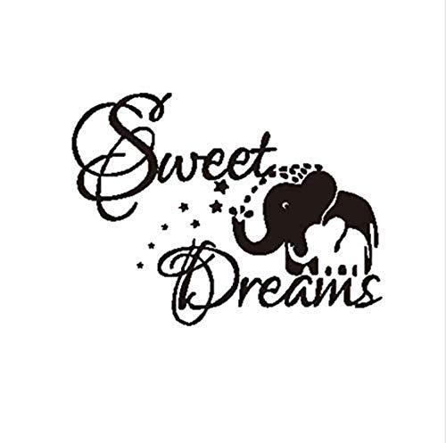HSQMM Vinyl Wandaufkleber PVC Sweet Dream Elefanten Wandaufkleber Kinderzimmer Dekorationen Cartoon Tier Brief DIY Schlafzimmer Aufkleber Wandbild Kunst Druck 44 Cm x 57 Cm -