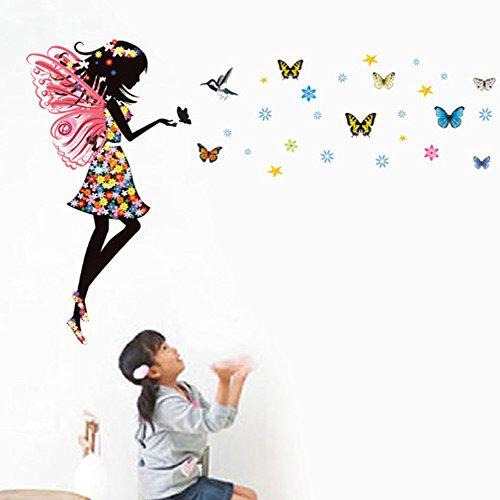 Wallpark Karikatur Magie Bunt Schmetterling Fee Mädchen mit Flügeln Abnehmbare Wandsticker Wandtattoo, Kinder Kids Baby Hause Kinderzimmer DIY Dekorativ Kunst (Fee Schmetterling Flügel)