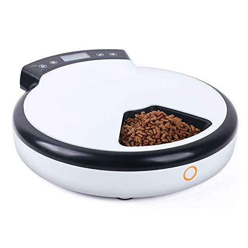 XCKJBCD 5 Mahlzeiten Automatischer Futterautomat for Hunde und Katzen, Trocken- und Nassfutterautomat mit Timing, Diktiergerät, Futternapf