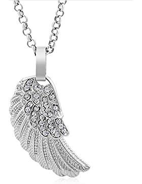 MESE London Silberner Flügel Anhänger Engel Halskette - Elegante Geschenkverpackung