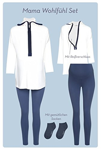 Bellybutton Mama Geschenk Set, Ensemble de Pyjama Maternité Femme, Weiß (Snow White|White 1050 Bleu foncé