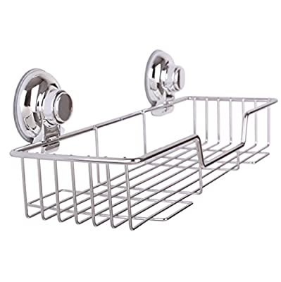 ARCCI Stainless Steel Shower Basket Shelf Suction Cup Shower Caddy with Rotate & Lock