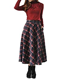 Foluton Damen Rock mit Streifen Druck Midi Lang A-Linie Hoch Taille Wollrock  Herbst Frühling 3c38af4359