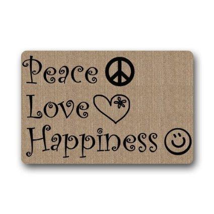 """Custom paz amor felicidad planta alfombrilla–Felpudo, diseño de interior/al aire libre Felpudo 23.6""""x 15.7"""" tela no tejida piso alfombra"""
