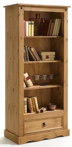 IDIMEX Bücherschrank, Bücherregal im Mexiko Stil, Pinie massiv