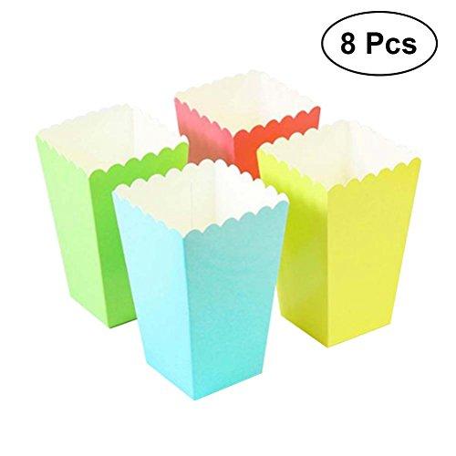 TOYMYTOY Popcorn-Boxen, Süßigkeiten-Container Popcorn-Taschen Party Favor rot, blau, grün, gelb, 8 Stück