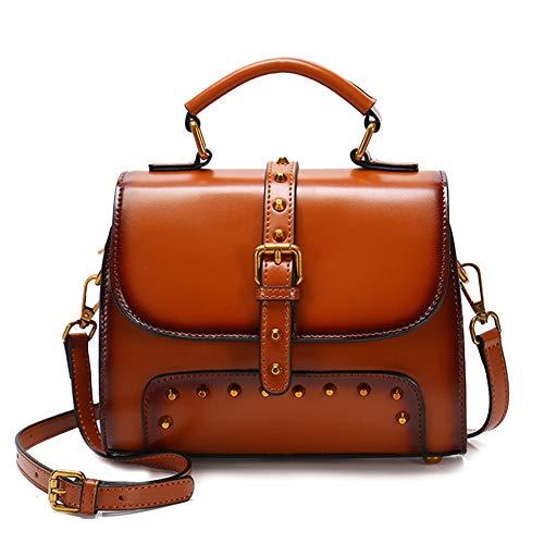 Messenger Vintage Schulter Handtaschen Aus Echtem Leder Sling Bag Niet Square Totes Cross Body Schultertasche Small Top Griff Geldbörse Für Frauen,Brown-22 * 8 * 17CM -
