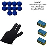 Snooker, Pool Cue Stick Combo, Gloves, 6 Chalk And 10 Pieces Leather Cue Tip (10mm)