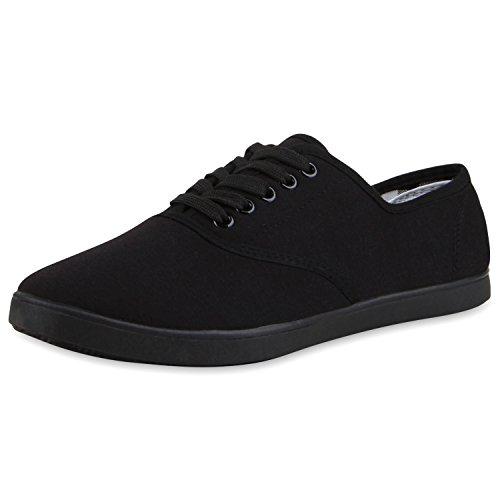 SCARPE VITA Herren Sneakers Low Sportliche Turnschuhe Canvas Schuh Schnürer 155834 Schwarz 42