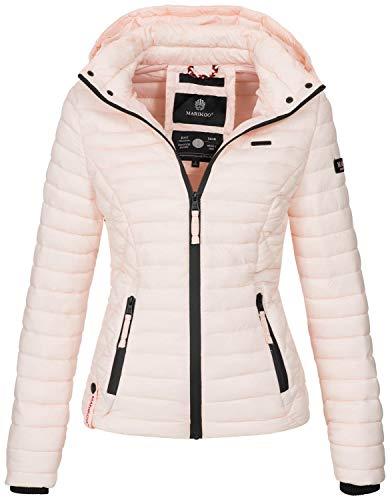 Marikoo Damen Jacke Steppjacke Übergangsjacke mit Kapuze gesteppt B600 [B600-Samt-Rosa-Gr.L]