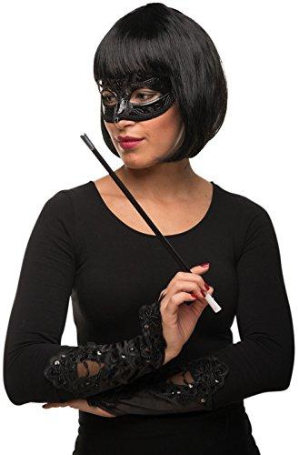 ob Cabaret Page Perücke schwarz + venezianische Maske + Handschuhe + Zigarettenhalter Fasching Karneval Kostüm - Verkleidung Frauen / Damen (Cleopatra Kostüme Maske)