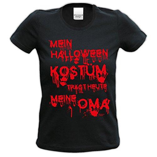 Halloween Kostüme Heute (Damen T-Shirt :: Mein Halloween Kostüm trägt heute meine Oma : Halloweenmotiv Shirt Frauen Mädchen Farbe: schwarz Gr:)