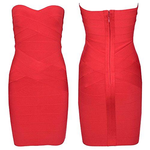 HLBandage Women's Rayon Strapless Stretch Party Bandage Dress Rouge