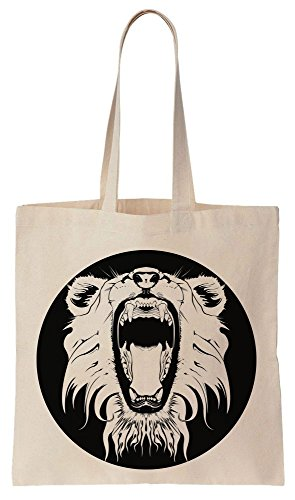 Furious Lion Open Mouth Cotton Canvas Tote Bag Baumwollsegeltuch-Einkaufstasche (Tiger Bag Canvas Tote)