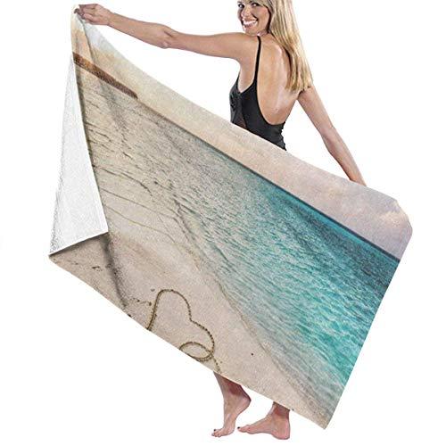 Oneill-baum (xcvgcxcvasda Serviette de bain, Two Hearts Love Sandy Beach Sea Personalized Custom Women Men Quick Dry Lightweight Beach & Bath Blanket Great for Beach Trips, Pool, Swimming and Camping 31