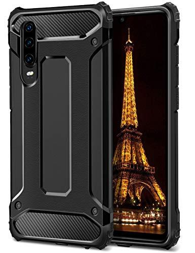 Coolden Huawei P30 Hülle,Premium [Armor Serie] Outdoor Stoßfest Schutzhülle Tough Silikon TPU + PC Bumper Cover Doppelschichter Handyhülle für Huawei P30 Smartphone - Schwarz