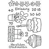 Efco Stempel Clear Einladung,Geburtstag, Glückwunsch, transparent A7 / 74 x 105 mm, 14 - teilig