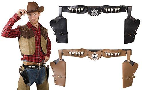 Revolver Gürtel für Erwachsene mit zwei Pistolen Holstern in brau und (Für Kostüme Sheriff Kinder)