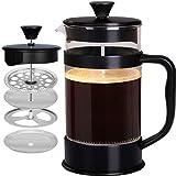 Utopia Kitchen - 1 litro / 1000 ml (8 tazze) Caffettiera a presso-filtro (French Press) - Espresso e teiera con filtri tripli - Vetro resistente al calore - Nero