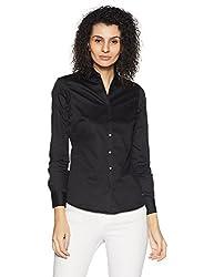 Park Avenue Woman Plain Regular Fit Cotton Shirt (PWSX00964-K9_black_small)