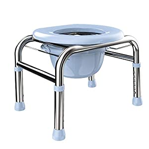 Silla de inodoro Silla WC con Inodoro, Regulable En Altura, Acero Inoxidable Silla con Orinal para Ancianos, PortáTil…