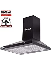 Inalsa 60 cm, 1050 m³/hr, Pyramid Chimney Classica 60BKBF with SS Baffle Filter, Push Button Control, (Black)